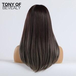Image 4 - Długie peruki syntetyczne proste z Bangs Ombre ciemnobrązowe do szarych peruk dla kobiet Cosplay peruka z naturalnych włosów włókno termoodporne