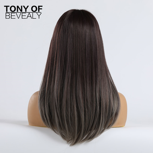 Image 4 - Long Straight Synthetic Wigs With Bangs Ombre Dark Brown to Gray Wigs for Women Cosplay Natural Hair Wig Heat Resistant Fiber
