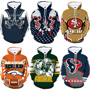 Men's football team hoodies in Europe and the United States are popular 3d printed hoodie sportswear недорого