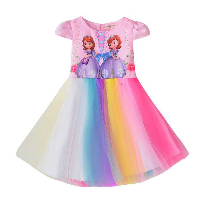 Las niñas Princesa Sofía vestido 2019 vestidos infantiles para niñas chica Arco Iris TUTU vestido