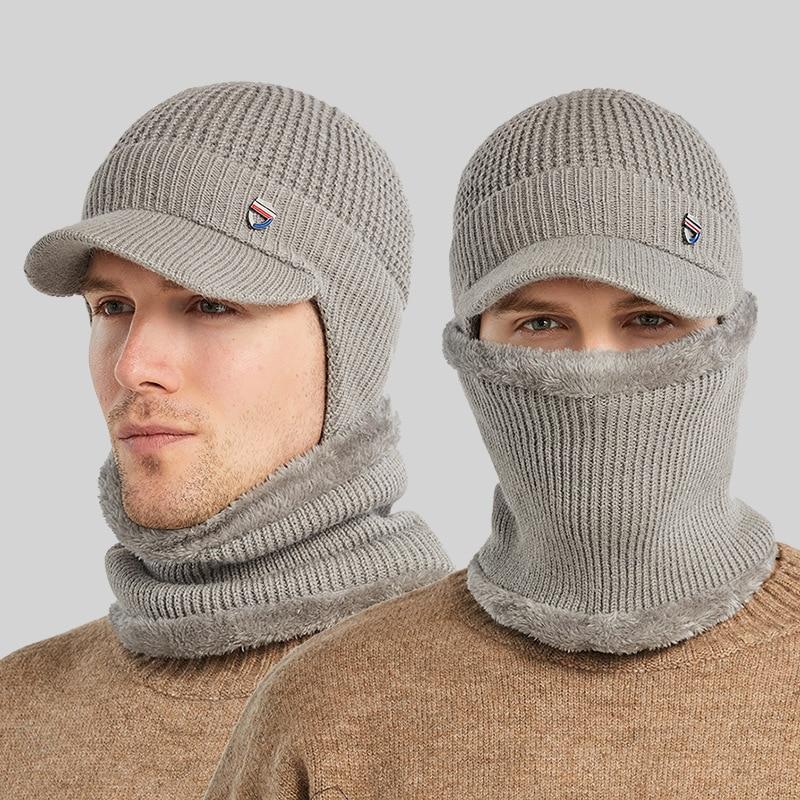 Winter Men's Warm Windproof Gorras Knitted Hat + Scarf Skullies Beanie Protect Ears Fishing Baseball Fashion  Earmuff Balaclava