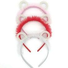 New Girls Cute  Pearls Hairband Elegant Headband Women Headwear Bear Ear Hair Hoop Bezel for Accessories 1 Pcs