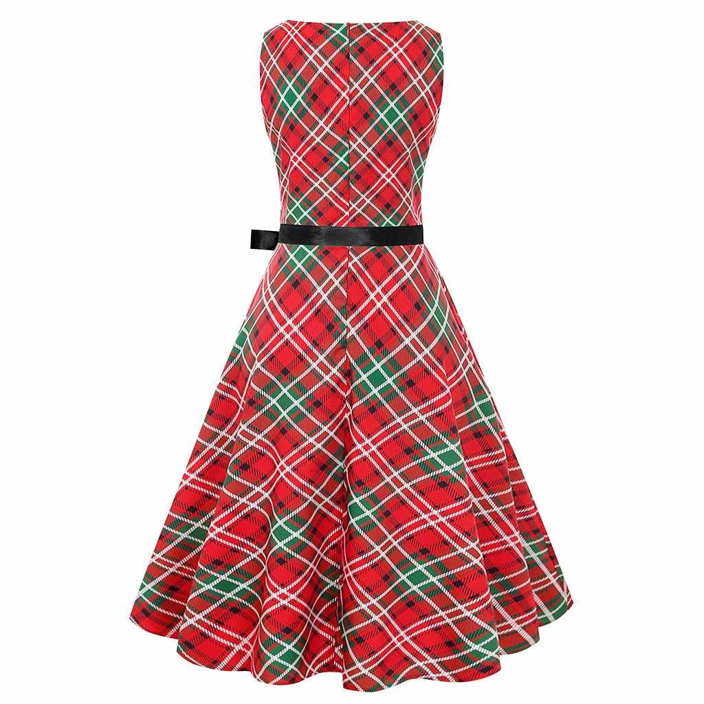Donne del vestito di Stile di natale casual Allentato Elegante Rotonda Collare a vita Alta Vintage Regalo Plaid Babbo natale Alce Abiti di Stampa