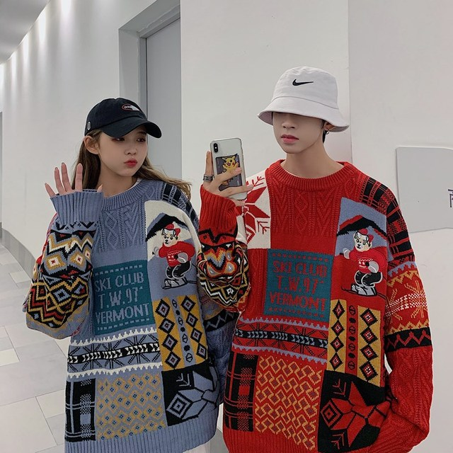 Women Sweater Autumn Winter Vintage Keep Warm Sweater Fashion O-Neck Full Thick Pullovers Couple Sweater 4