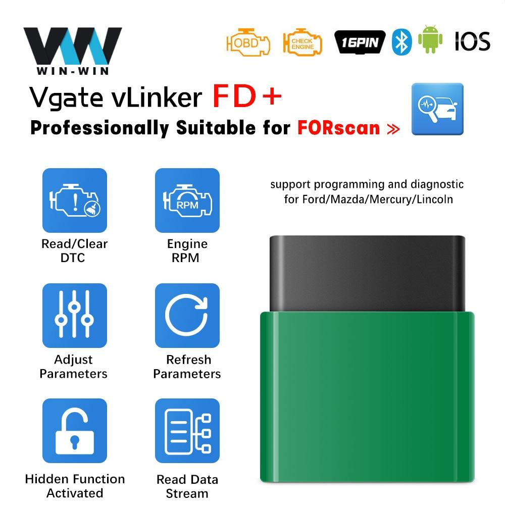 Vgate vlinker fd + elm327 v2.2 forscan para ford scanner bluetooth elm 327 wifi obd 2 obd2 odb2 ms pode ferramenta de diagnóstico do carro