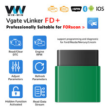 Vgate vLinker FD+ ELM327 V2.2 Forscan for ford Scanner Bluetooth ELM 327 wifi OBD 2 OBD2 Car Diagnostic ODB2 MS CAN Auto Tool
