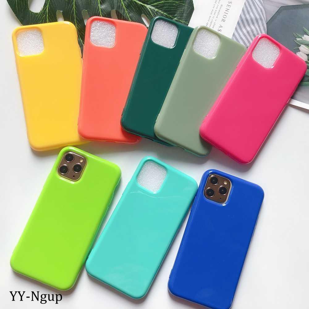 Pour iPhone 11 coque couleur unie housse silicone épaisse dessus pour coque iPhone 11 Pro Max X XR XS 6 6S 7 8 Plus 5S coque Telefoon Hoesjes