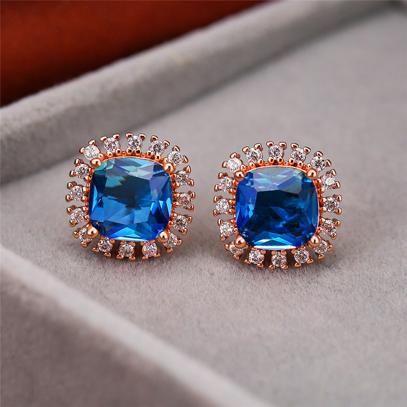 Vintage Female Rainbow Crystal Small Earrings Charm Square Zircon Flower Stud Earrings Rose Gold Silver Color Wedding Earrings
