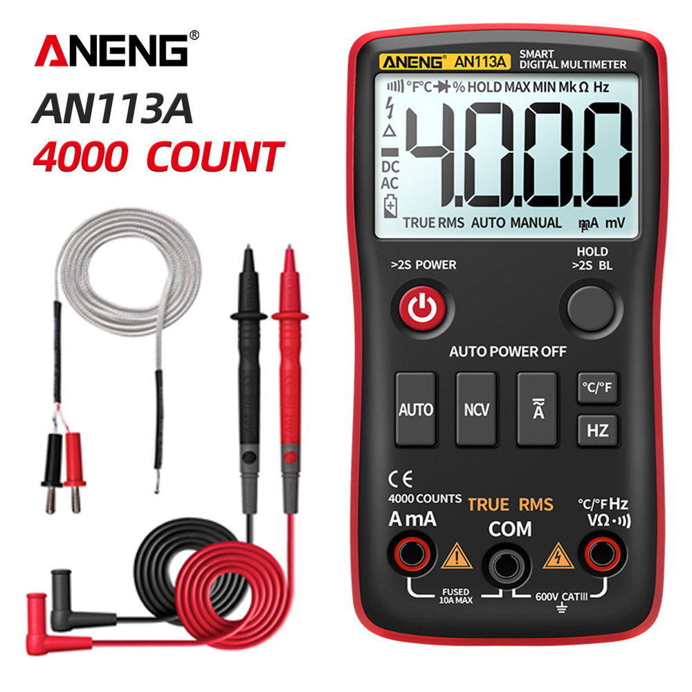 ANENG AN113A Digital Multimeter True RMS With Temperature Tester 4000 Counts Auto-Ranging AC/DC Transistor Voltage Meter