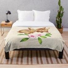 Par de conejos Vintage en primavera manta suave Sherpa manta de cama una sola rodilla manta para siesta Oficina