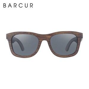 Image 4 - BARCUR Wood Sunglasses Bamboo Brown Full Frame Wooden Sun Glasses Men Polarized Vintage Women Eyewear