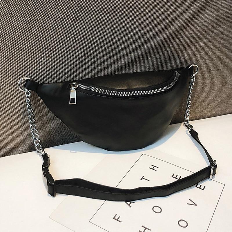 PU Waist Bag Women Chain Chest Pack Fashion Fanny Packwaterproof Messenger Bags Travel Wallet Belt  Large CapacityShoulder Bag