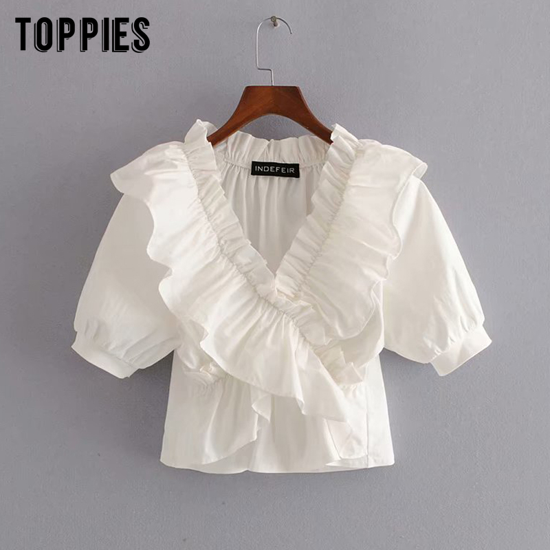 Vintage White Cotton Tops Women Summer Short Shirts Cascading Ruffles Blouses Sexy V-neck Vacation Clothes