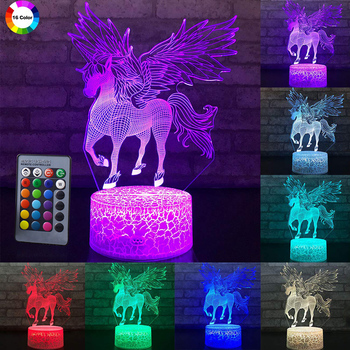 Remote/Touch Control 3D LED Night Light Unicorn series 7/16 Color Change LED Table Desk Lamp Kid Gift Xmas Home decoration D30 remote touch control 3d led night light led table desk lamp dolphin led night light color change 3d led light for kids gift 30