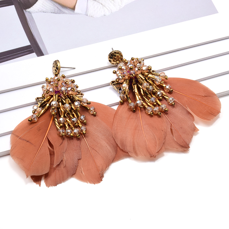 New Arrival Luxury Crystals Tassel Dangle Drop Earrings High-Quality Vintage Feather Jewelry Accessories For Women Wholesale