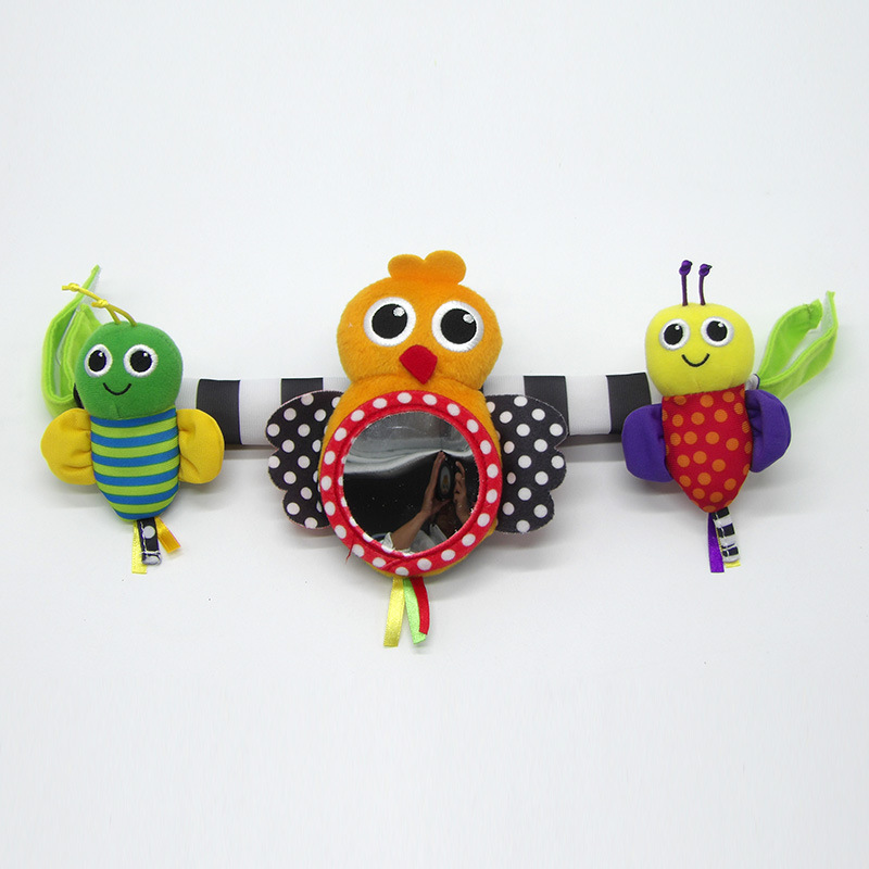 Baby Stroller Distorting Mirror Toy Cartoon Modeling Bed Bell Infants Bell Baby Trolley Rattle Pendant