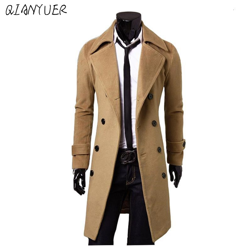 Fashion Brand Autumn Jacket Long Trench Coat Men Top Quality Slim Black Male Overcoat Mens Khaki Jacket Trench Coat Windbreaker