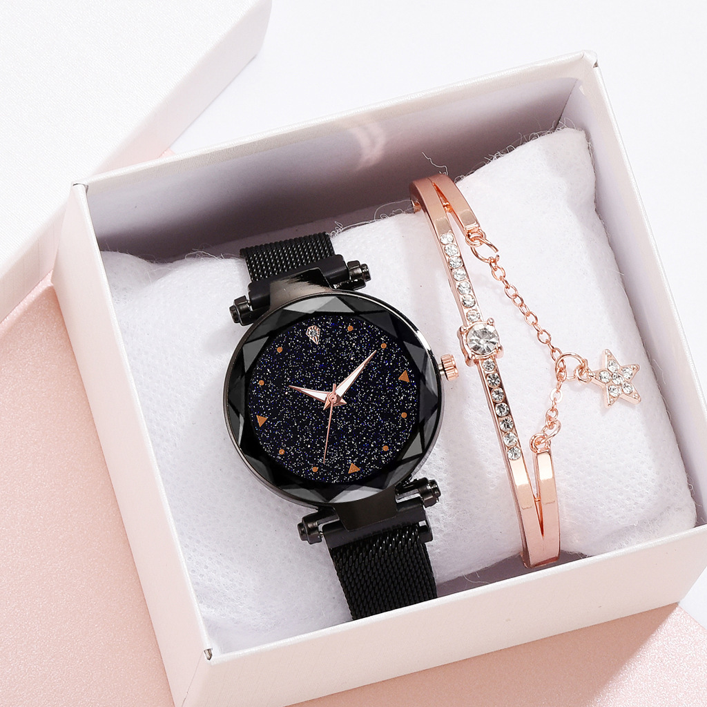 2019 Women's Watch And Bracelet Set Starry Sky Women Watches Quartz Magnetic Band Ladies Diamond Decorative Watch Zegarek Damski