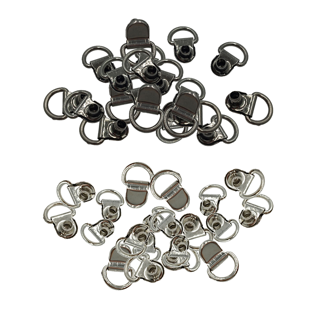 40x Boot Lace Hooks For Camp Hike Climbing Repair Leather Shoes Black Silver