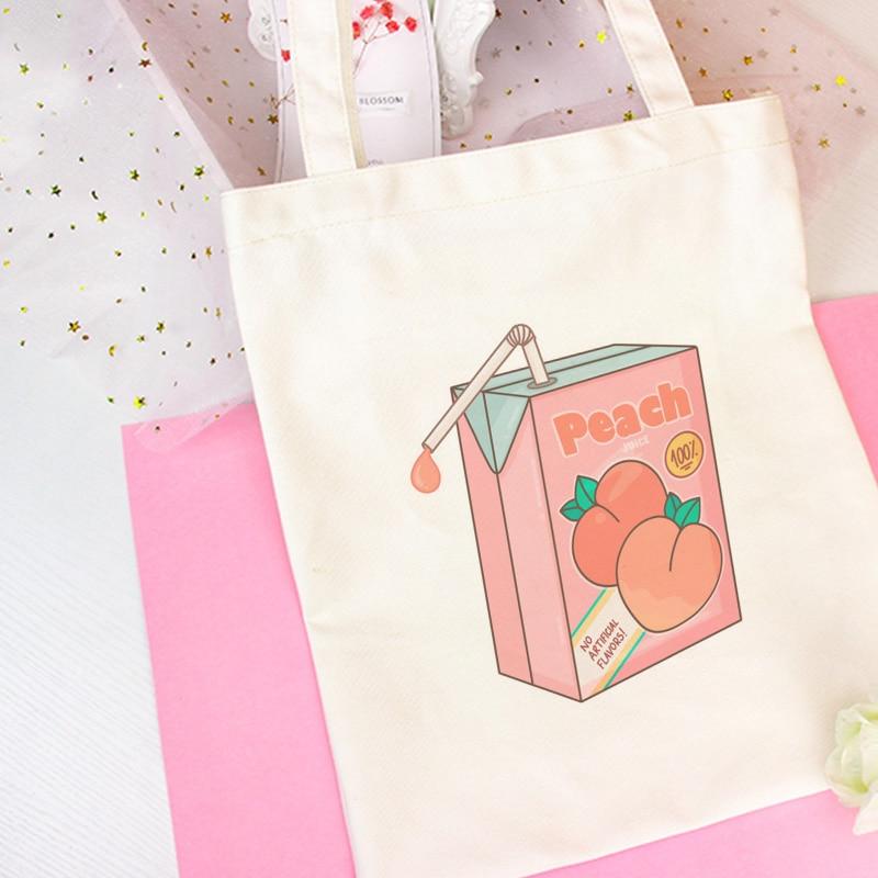 Two Pink Peach Milk Cute Shoulder Bags Cartoon Print Backpack Harajuku College Wind Handbag Large Capacity Women's Bag Wallet