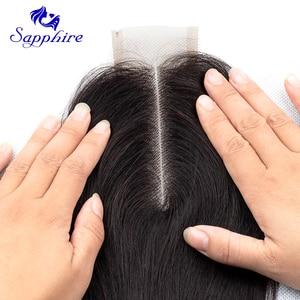 Image 4 - Sapphire Human Hair Bundles With Closure 2# 4# 99J Straight Weave Bundles 3 PCS With 2*4 Closure Human Hair Bundles with Closure