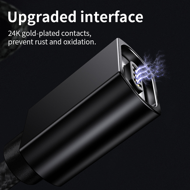 2M Magnetic Micro USB Cable For iPhone Samsung Fast Charging Data Wire Cord Magnet Charger USB Type C 3A 5