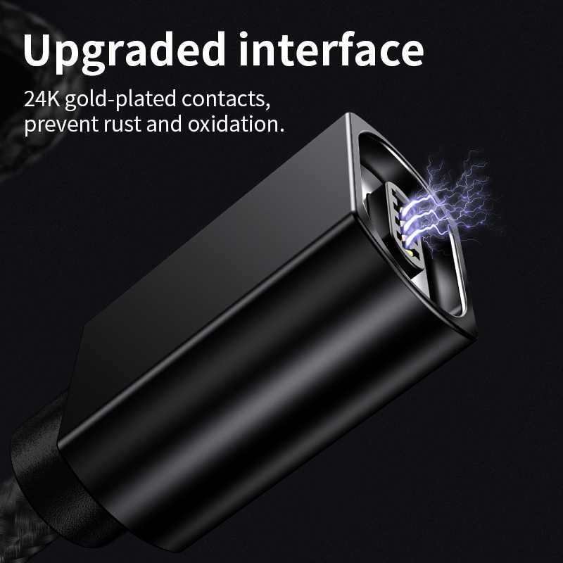 Olaf 2M Kabel Usb Mikro Magnetik untuk Iphone Samsung Cepat Pengisian Data Kabel Kawat Magnet Charger USB Tipe C 3A Ponsel Kabel