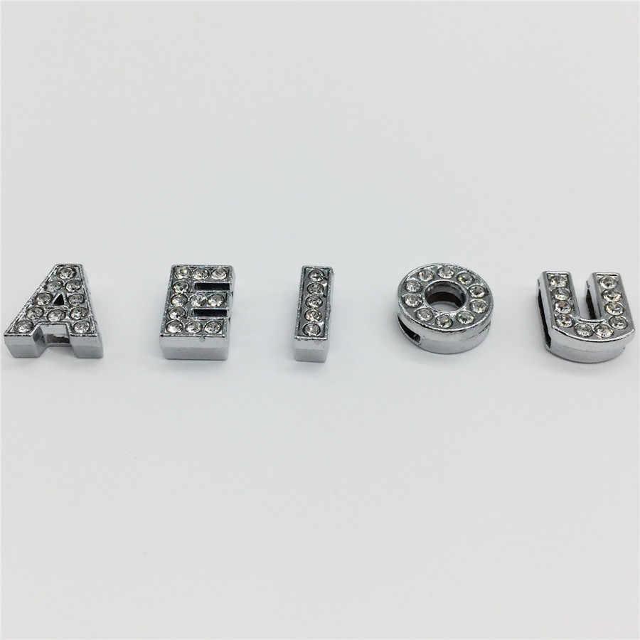 """8MM FAI DA TE In Argento Pieno di Strass Lettere Dello Scorrevole """"A-Z"""" Lettere di Scegliere Liberamente Fit 8 MILLIMETRI FAI DA TE Della Cinghia Del Braccialetto SL01"""
