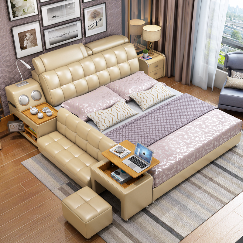 Hot Selling Modern White Leather King Size Storage Bed White Bed