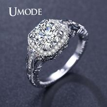 цена на UMODE Engagement Wedding Rings for Women Promise Rings Cubic ZIrconia Fashion Luxury Jewelry Ladies Rings Accessories UR0529