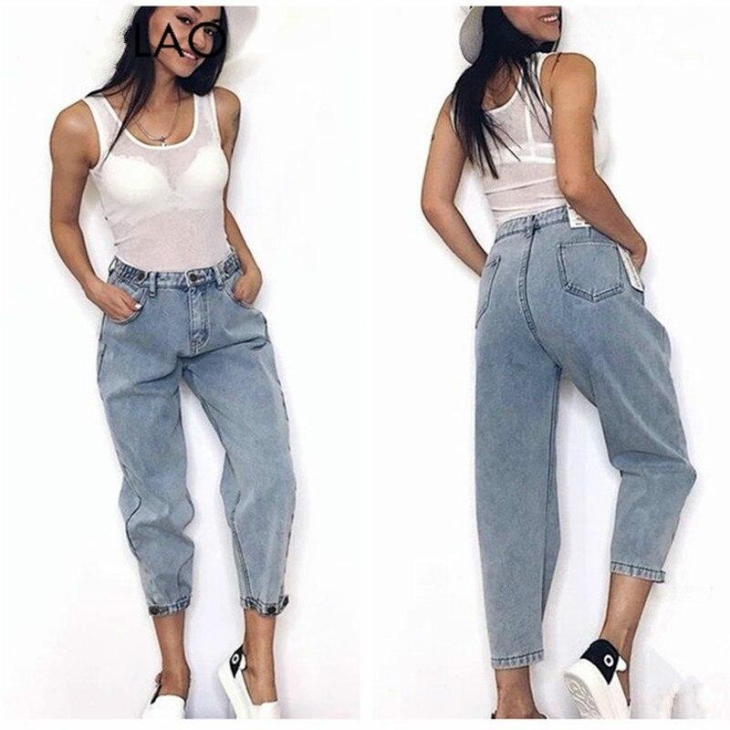 Women 2019Mom Jeans Harem Jeans Casual Denim Pants Boyfriends Jeans Femme Trousers Ripped Jeans Vintage Retro