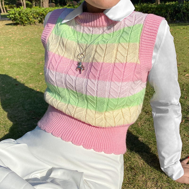 HEYounGIRL-suéter a rayas de arcoíris sin mangas para mujer, chaleco informal de punto Y2K, moda Coreana de punto