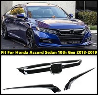 Glossy Black Front Grille trim For Honda For Accord Sedan 10th Gen 2018 2019 Grille Cover Replacement Base Moulding Trim