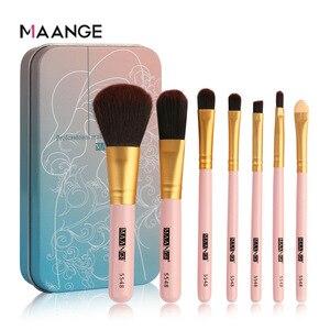 Image 2 - Maange 7 Piece Iron Box Makeup Brush Portable Eye Shadow Brush Makeup Tools Factory Direct Sales
