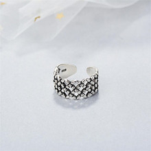 925-Sterling-Silver Jewelry Opening-Rings Personality New Hollow SR493 Ancient Money-Pattern