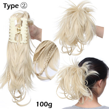 S-noilite High Temperature Fiber Hairpieces Long Wavy Synthetic Claw Clip Ponytail Hair Extensions for Women Black Brown 3