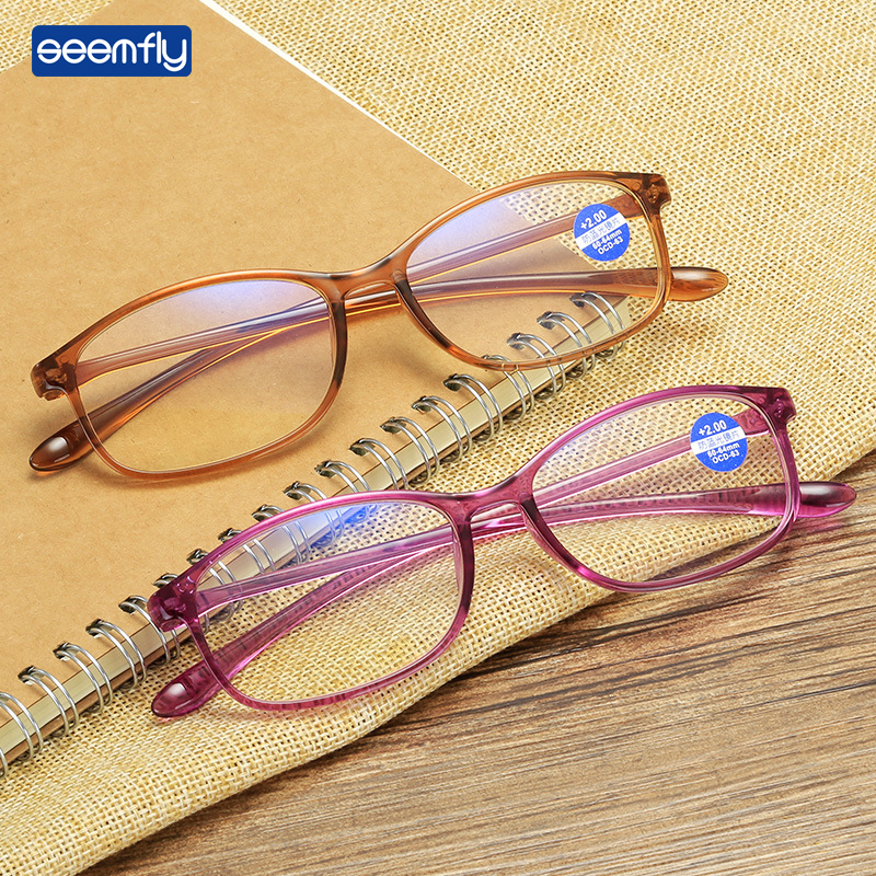 Reading Glasses Anti-Blue Light Seemfly Women Lens TR90 Resin HD for And To To