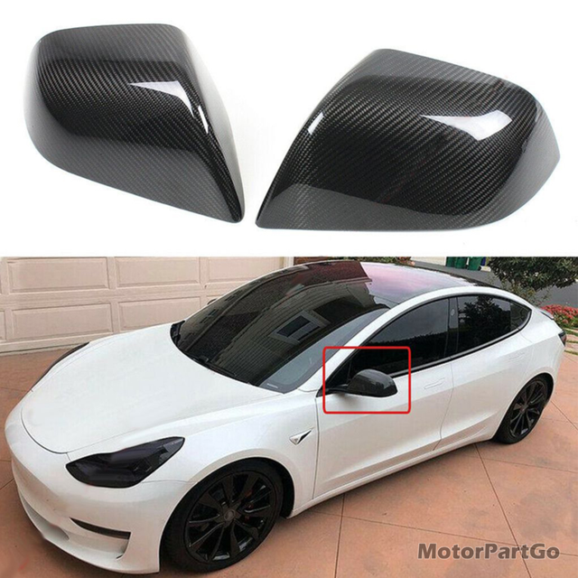 Real Crabon Fiber Mirror Cover 1 pair for Tesla Model 3 2021 T264M 2