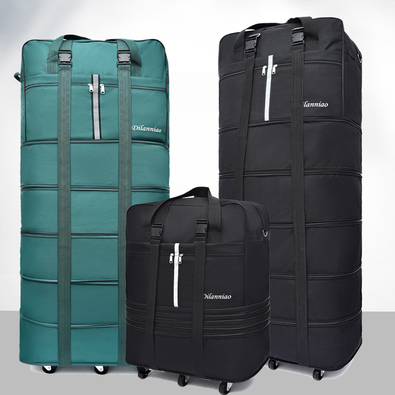 Large-capacity 158 Air Checked Bag Universal Wheel Travel Bag Abroad Study Oxford Cloth Folding Airplane Luggage Suitcase
