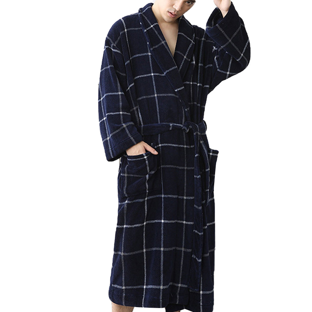 Fashion Plaid Bath Robe Men Winter Bathrobe Mens Kimono Sleepwear  Home Nightgown Pajamas Robe D91106