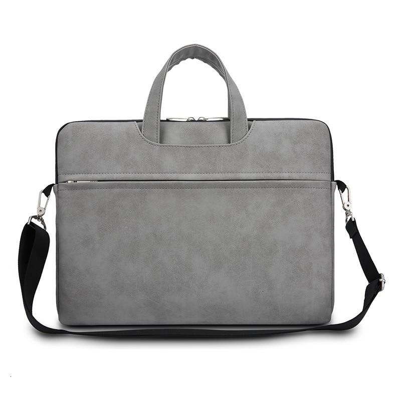 PU Business Laptop Bag Shoulder Handbag Men Women Flat Storage Multi-functional Matte Briefcase