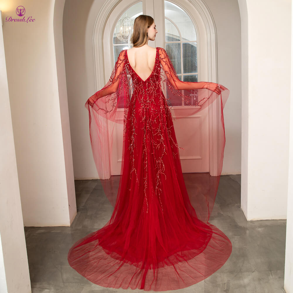 vestido-de-festa Dubai Style rom Dress Full Crystal Pearl Beaded Long Prom Dresses High Collar Full Sleeves Formal Party Gown