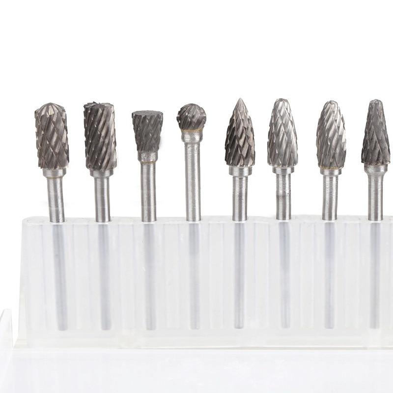"6Pcs Aluminum Tungsten Carbide Rotary Burr 6mm 1//4/"" Shank 10mm Cutting Dia im"
