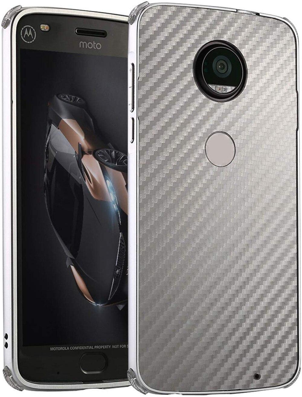 Aluminum Metal Bumper For Moto G5 G5s G6 G6 Plus Z2 Z3 Play E5 Play Case Carbon Fiber Pattern Plastic Back Silicone Edge Case