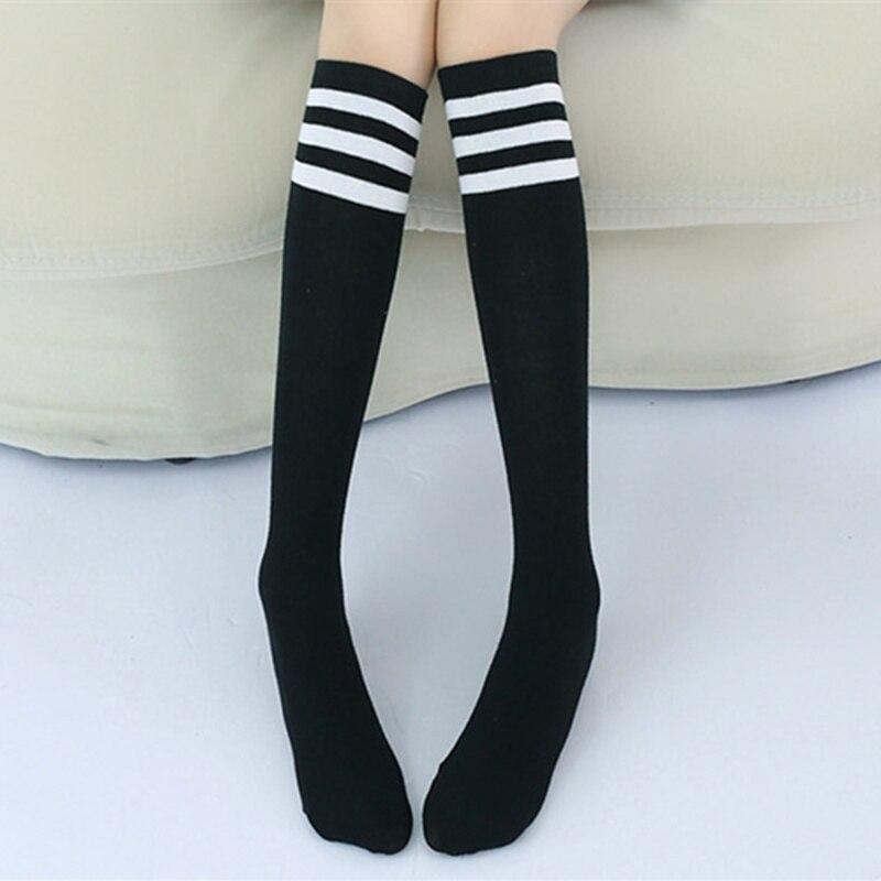 Kids Knee High Socks Girls Boys Football Stripes Cotton Sports School White Socks Skate Children Baby Long Tube Leg Warm