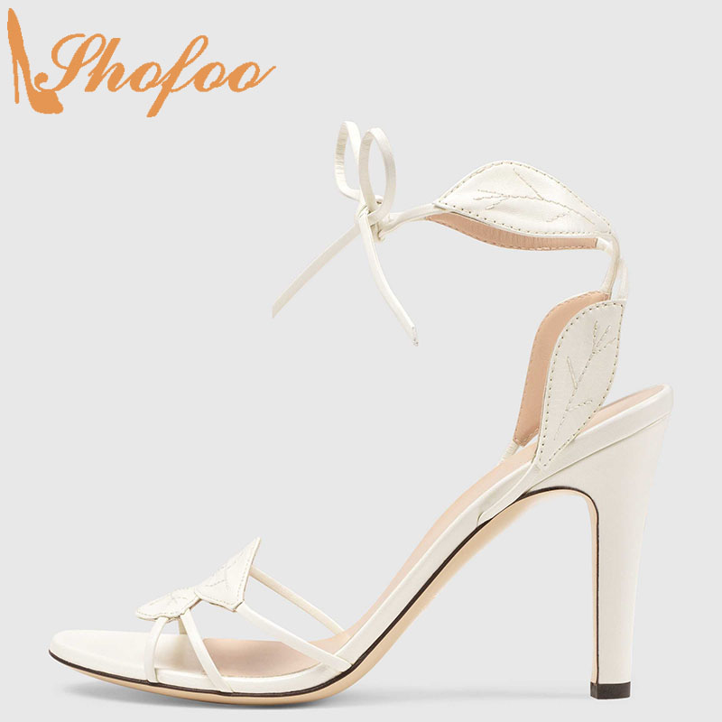 White Women's Leaf Details Sandals Stilettos High Heels Lace Up Large Size 13 16 Ladies Summer Fashion Concise Shoes Shofoo