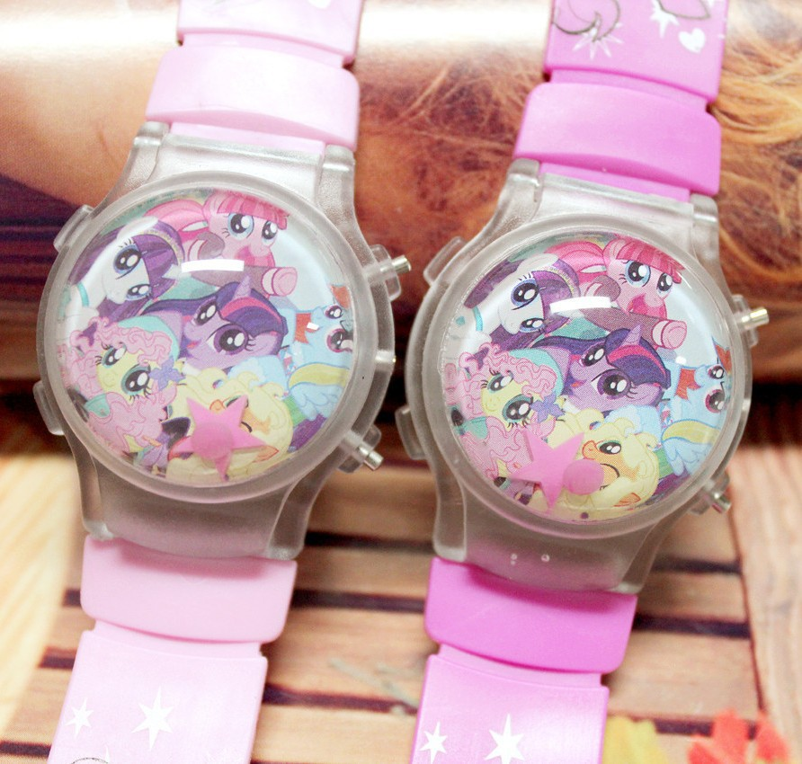 2019 New Pony Toys Cartoon Silicone Girls Children Watch Water Polo Calendar LED Flashing Light Kids Electronic Watches Clock