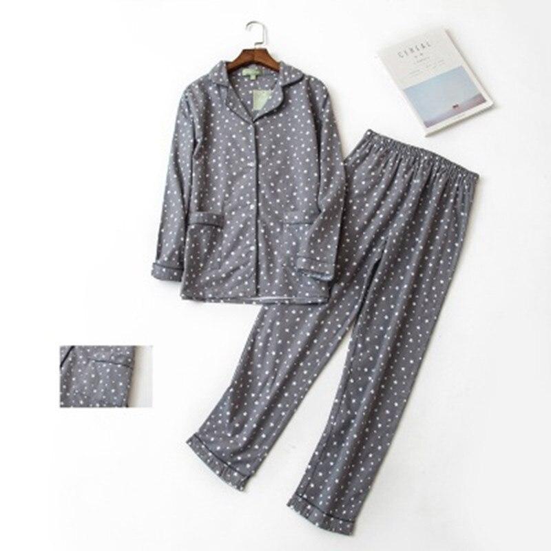100% Cotton Pajamas Set Women Winter Warm Sexy Femme Print Cartoon Pyjama Long Sleeve Shirts Pants 2PCS/Set Mom Home Wear 2019
