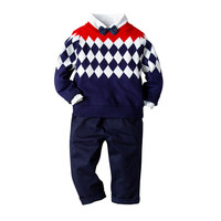toddler clothing set for boys Plaid sweater shirt pants suit casual kids spring autumn costume 2 4 6 8 years baby clothes