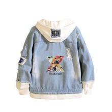 Haikyuu Karasuno VBC Unisex Jeans Jacket Anime Hoodies Harajuku Demin Streetwear Boys Cartoon Sweatshirt Couple Clothes